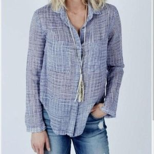 Cloth & Stone Blue & White Checked Button Down Top